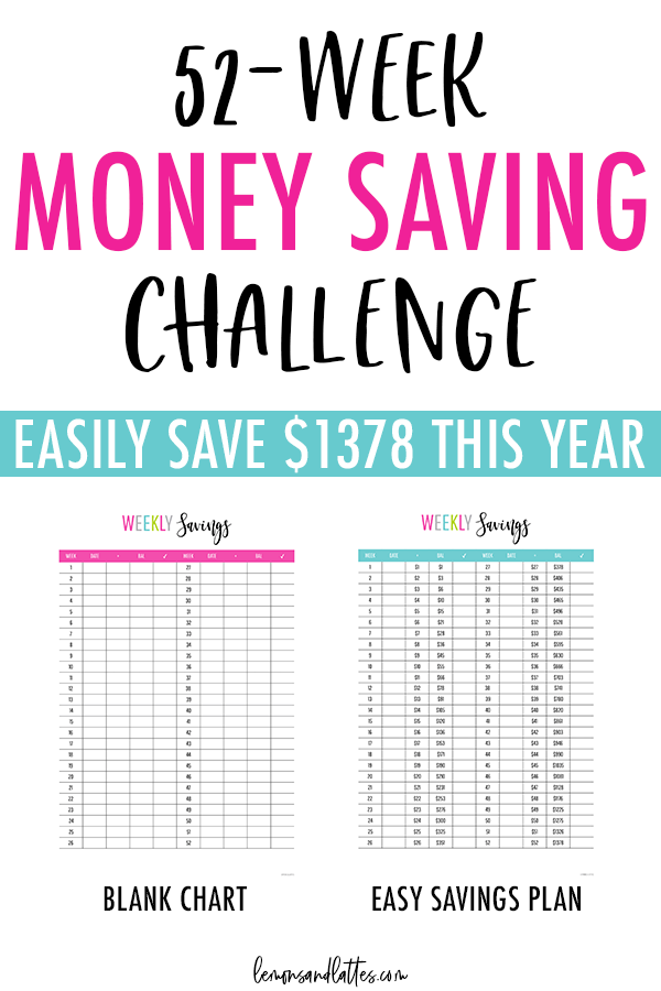Free 52-week money challenge printables: Blank chart + Easy savings plan to save $1378 this year