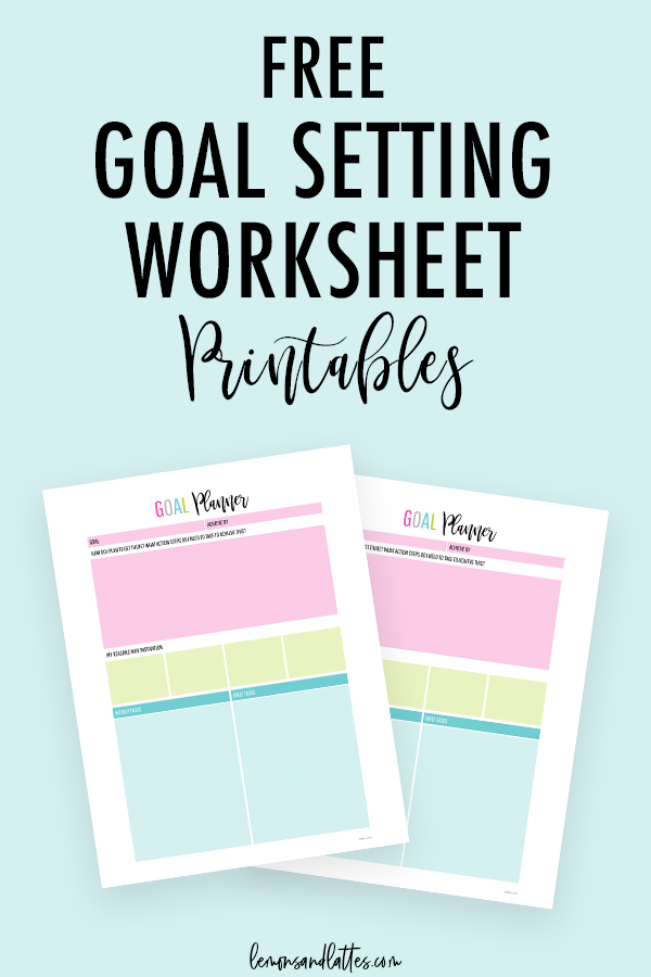 free goal setting worksheet printables
