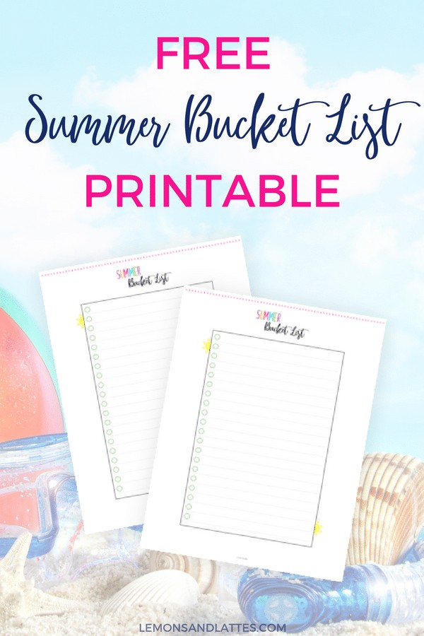 Free blank Summer bucket list printable + 31 Summer bucket list ideas for kids!