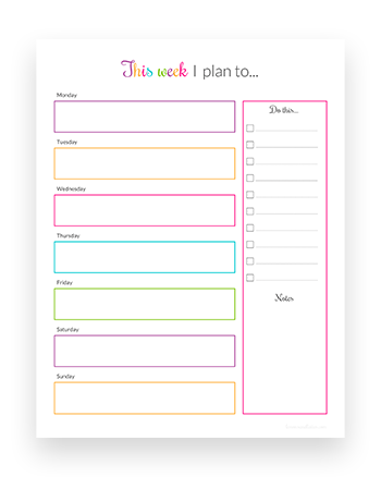Free weekly planner printable template - Download and print instantly!