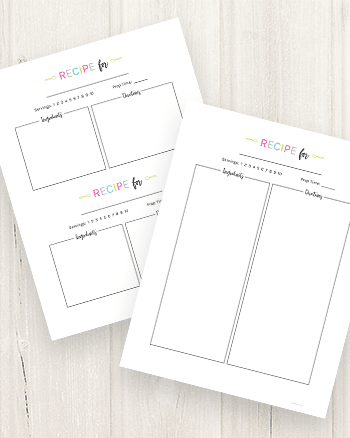 Download and print your free recipe card templates!