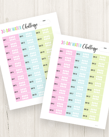 Download and print your free 30-day water challenge printable!