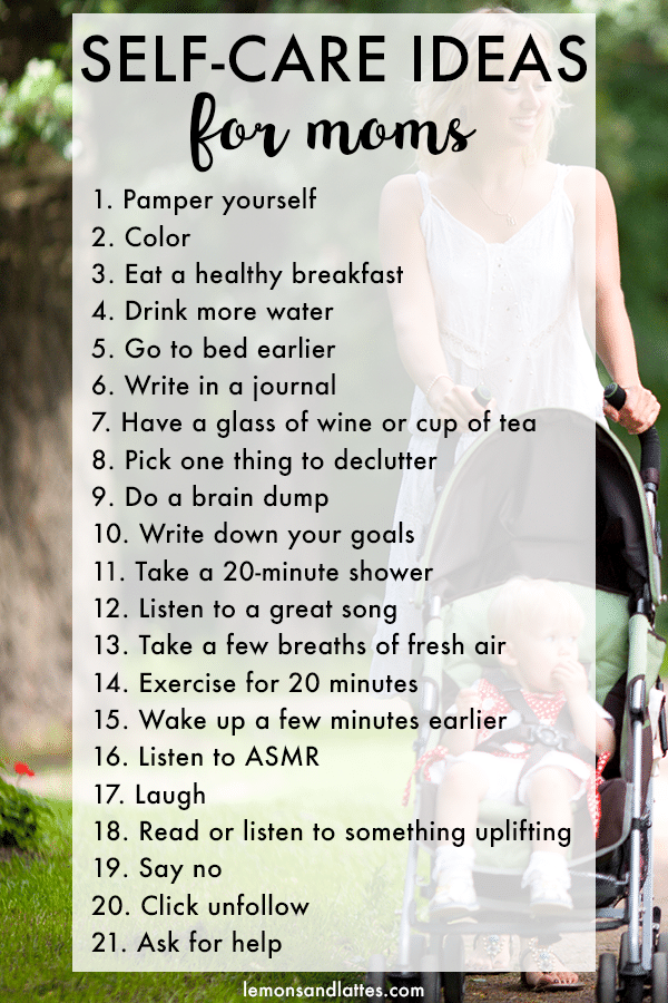 Self-care ideas for moms, self-care activities