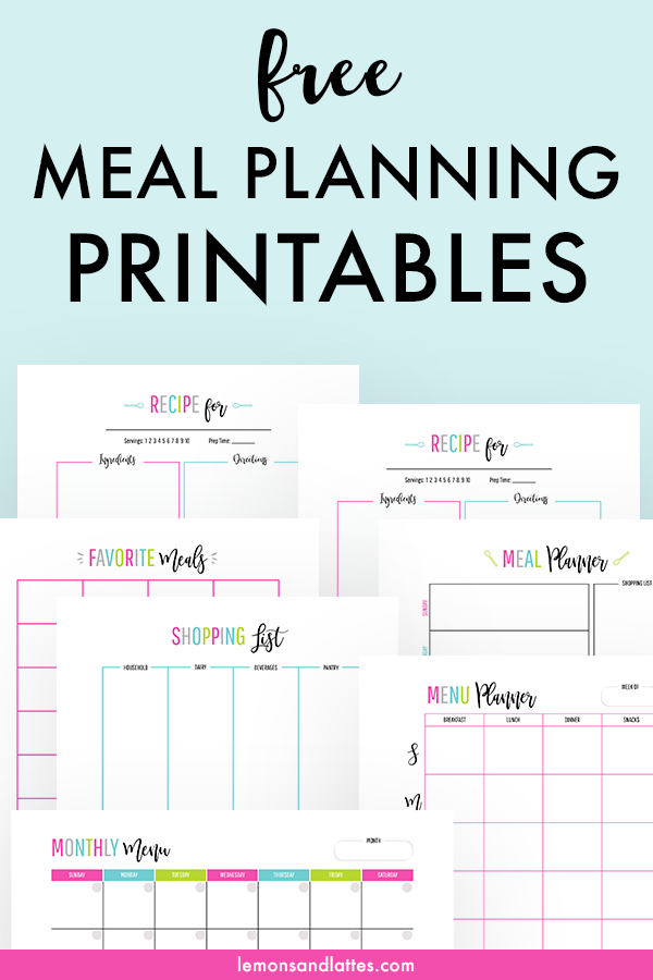 Free meal planning printables - Set includes a weekly meal planner with grocery list template, weekly menu planners, grocery list by category template/shopping list printable, monthly meal planning calendar/monthly meal planner, a family favorites printable, and printable recipe cards! #freeprintables #planner #mealplanning