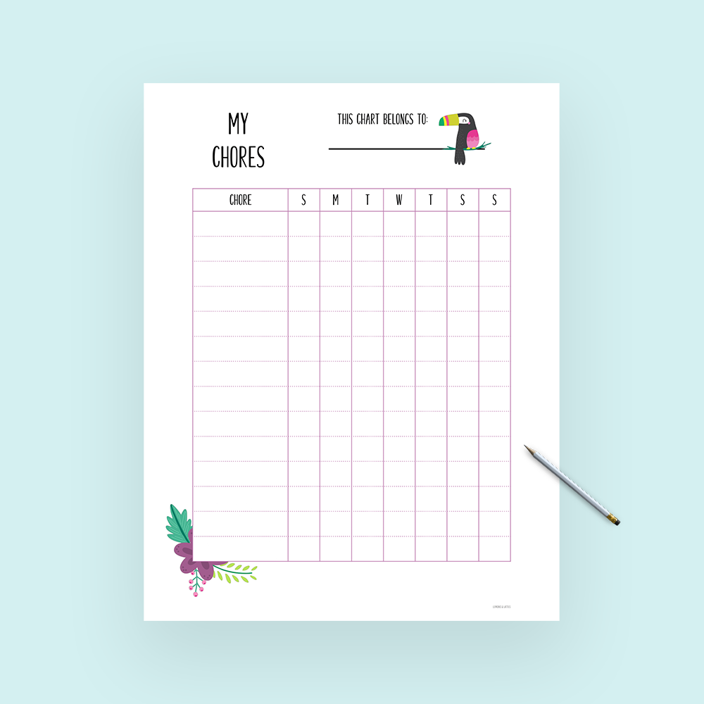 Free kids chore chart printable template - An easy way to help your kids stay on track with their chores and responsibilities! #freeprintables #parenting #kids