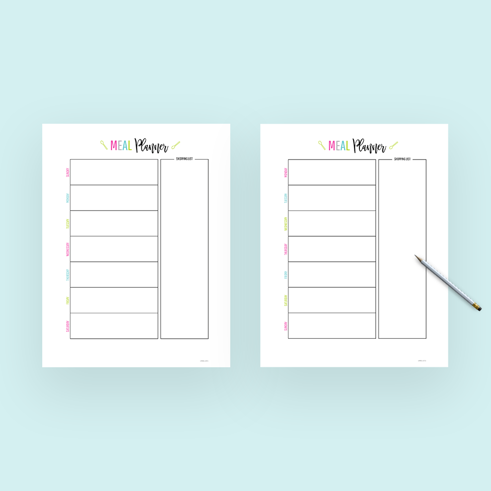 weekly meal planner template with grocery list