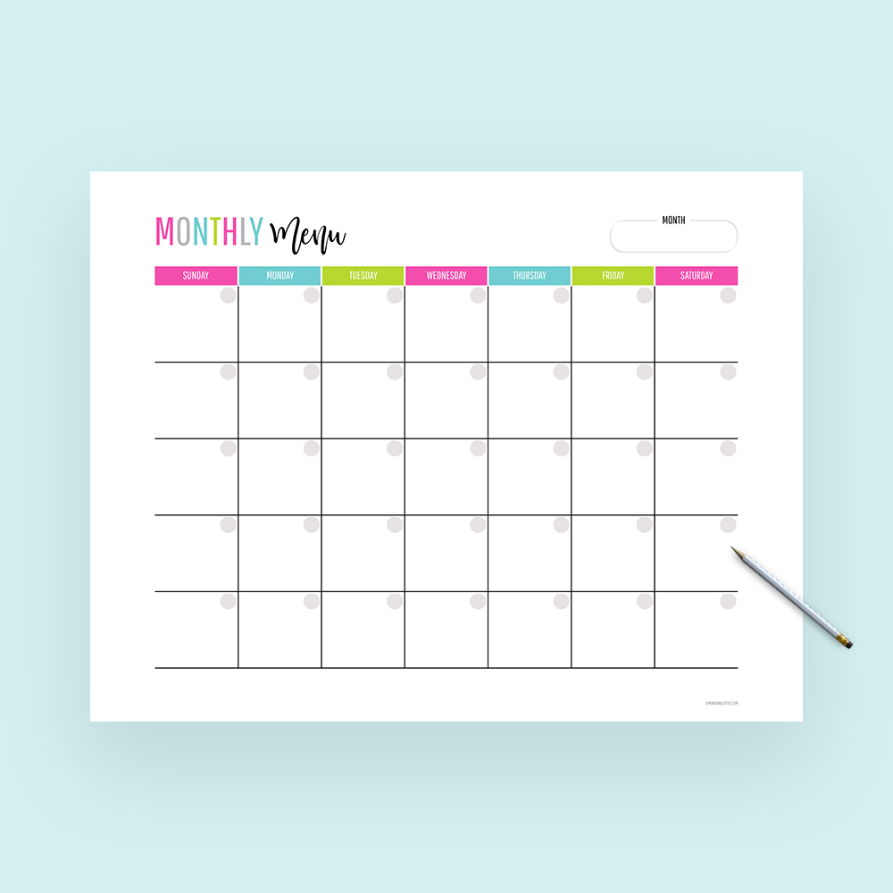 monthly meal planning calendar, monthly menu planner
