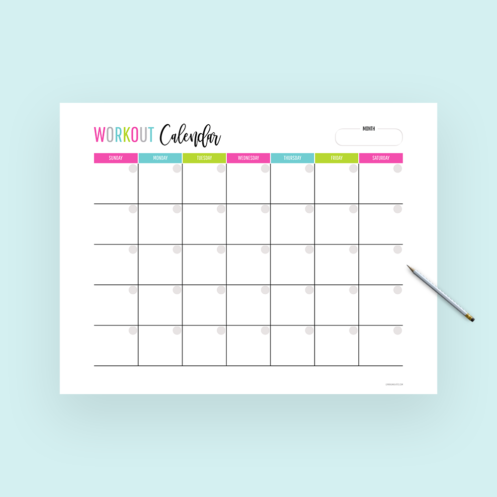 photo about Printable Workout Calendar identified as Free of charge Printable Regular Training Calendar Lemons Lattes