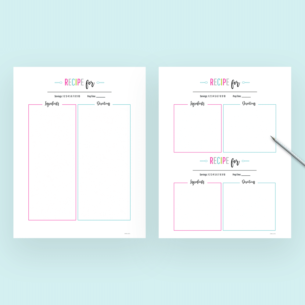 free printable recipe cards