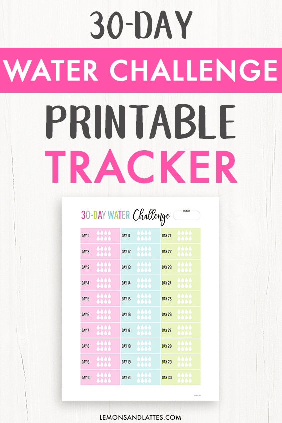 30-day water challenge, printable water tracker