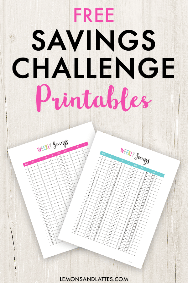 money saving challenge worksheets