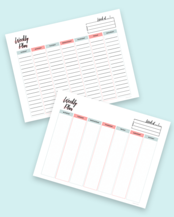 weekly planner template with vertical columns and goals