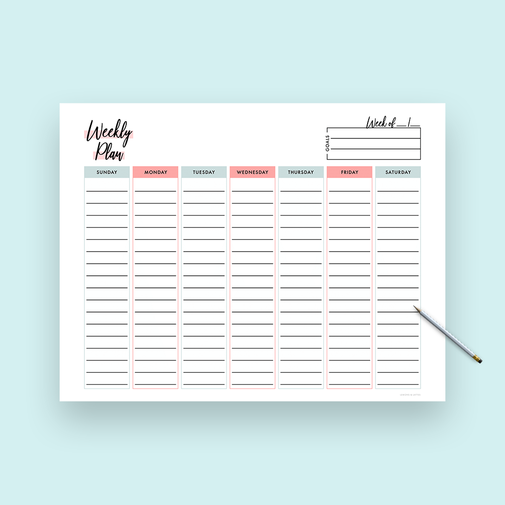 graphic regarding Weekly Goals Template titled No cost Printable Weekly Planner Template with Vertical Columns