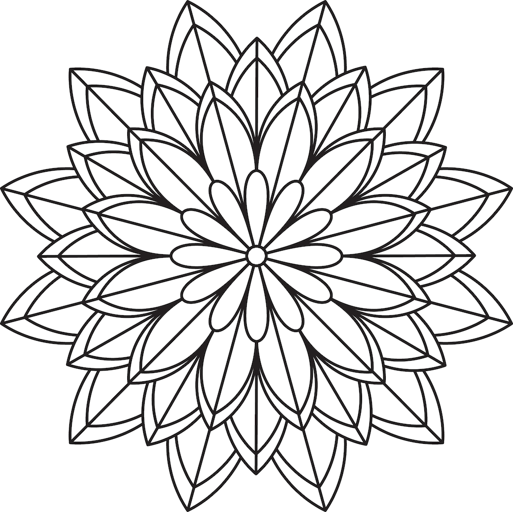 Simple Flower Mandala Coloring Pages (free printables)