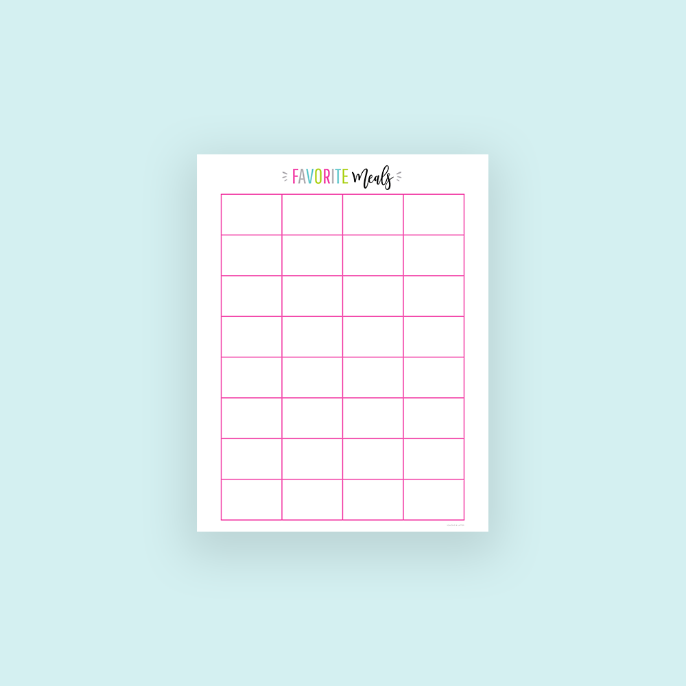 family favorites printable tracker